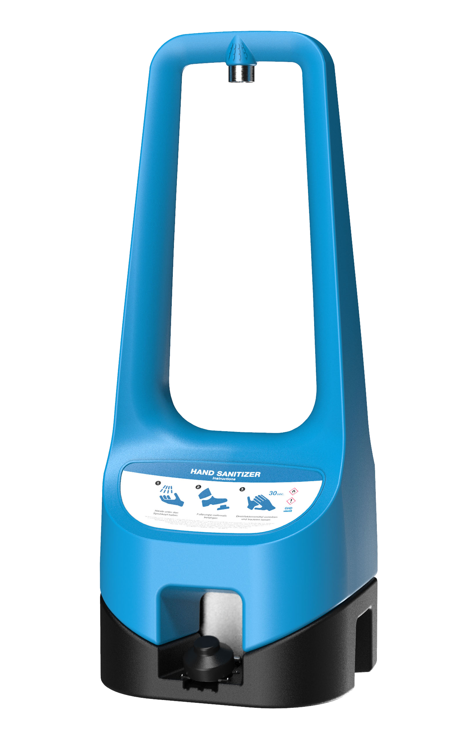 A blue Toi Care freestanding hand sanitizer.