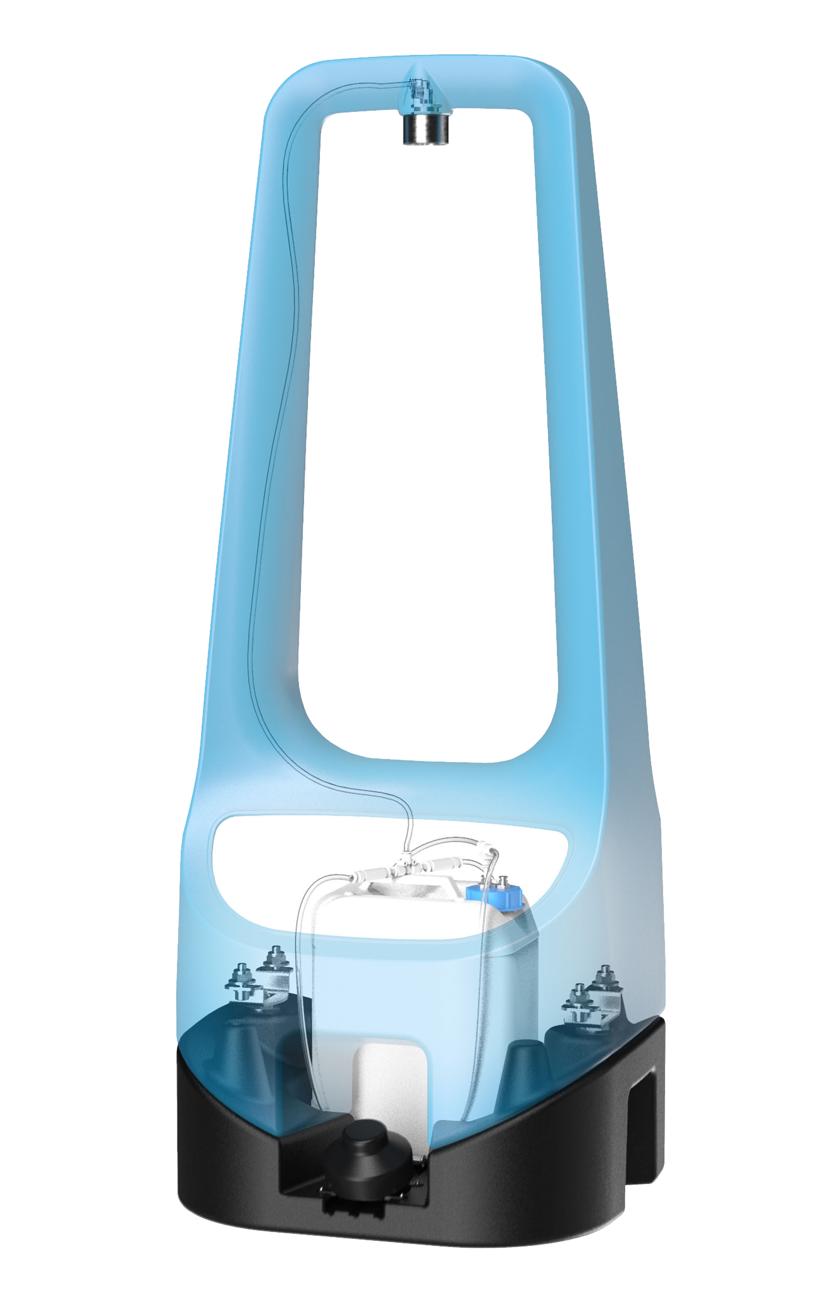 A Toi Care hand sanitizer which is slightly transparent to see the interior of it.